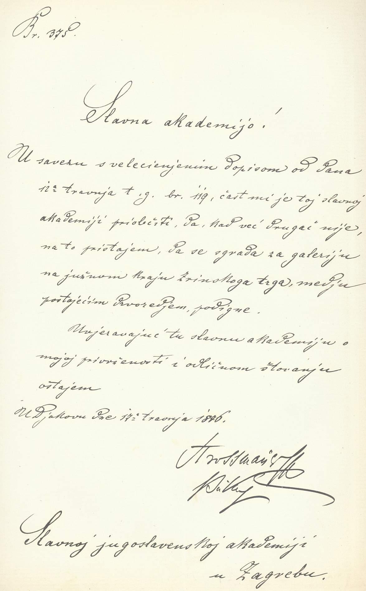 pismo Strossmayera
