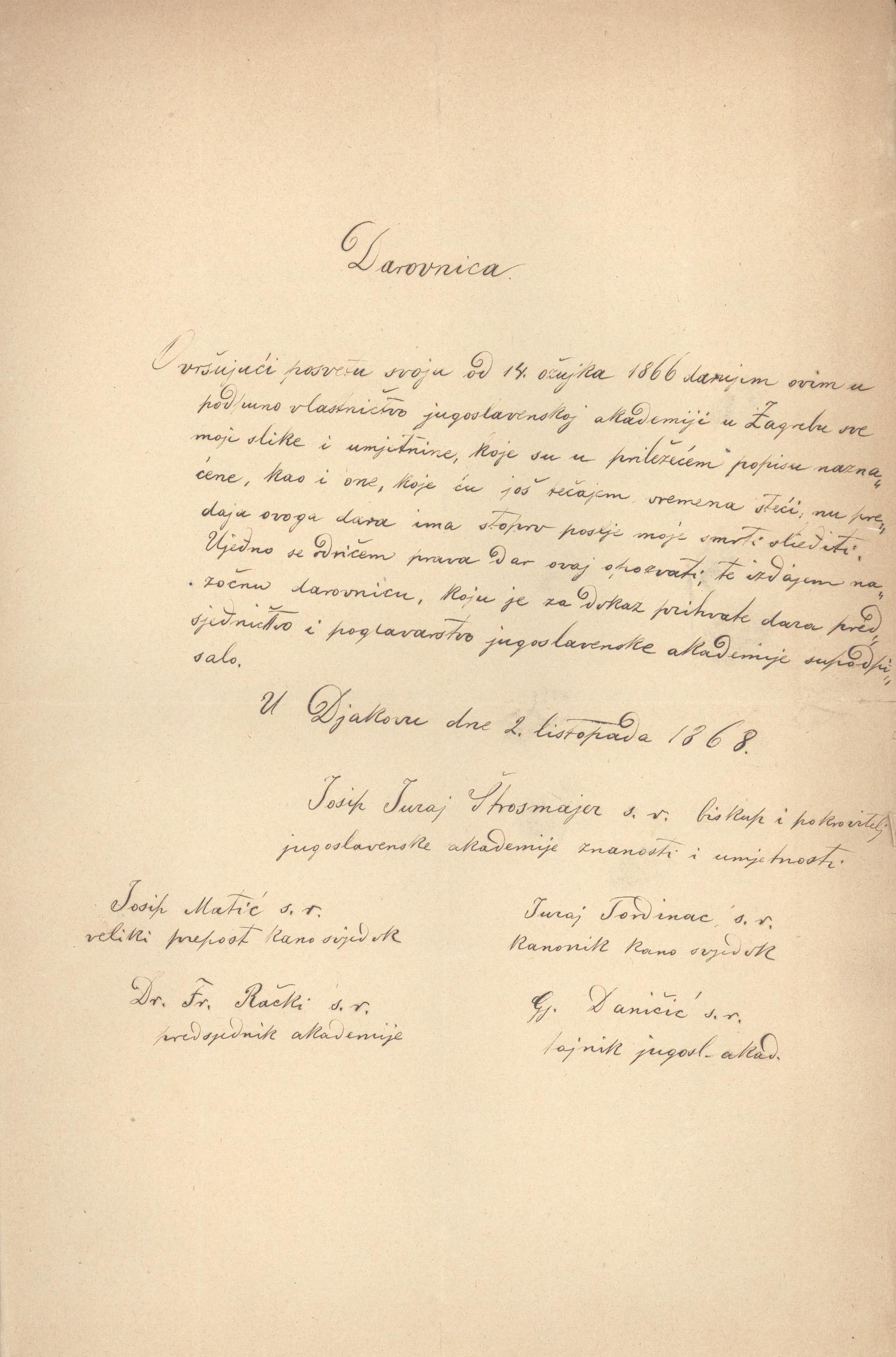 Darovnica Strossmayera